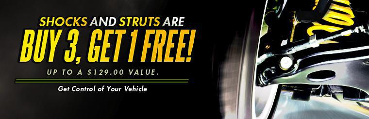 Save up to $129.00 with our buy 3, get 1 free shocks and struts deal and get control of your vehicle! Click here to print your coupon.