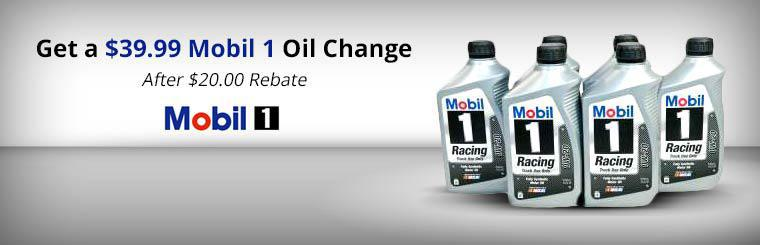 Get a $39.99 Mobil 1 Oil Change After $20.00 Rebate: Click here for details.