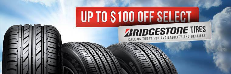Get up to $100 off select Bridgestone tires! Call us today for availability and details!