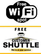 Free WiFi and Free Customer Shuttle