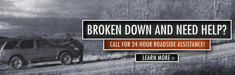 We offer 24-hour roadside assistance! Click here to contact us.