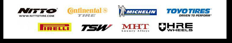 We carry products from Nitto, Continental, Michelin®, Toyo, Pirelli, TSW Wheels, MHT Wheels, and HRE Wheels.