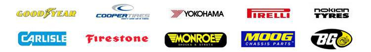 We carry products from Goodyear, Cooper, Yokohama, Pirelli, Nokian, Carlisle, Firestone, Monroe, Moog, and BG.