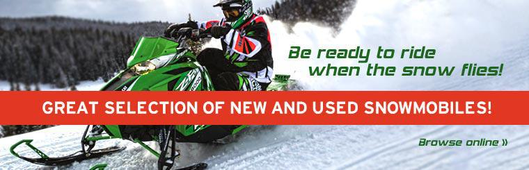 Be ready to ride when the snow flies! Check out our great selection of new and used snowmobiles!