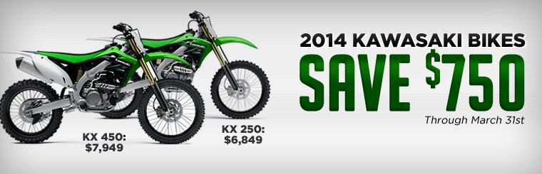 Save up to $750 on 2014 Kawasaki bikes through March 31st!