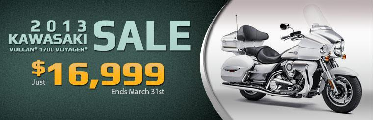 The 2013 Kawasaki Vulcan® 1700 Voyager® is on sale for just $16,999 through March 31st!