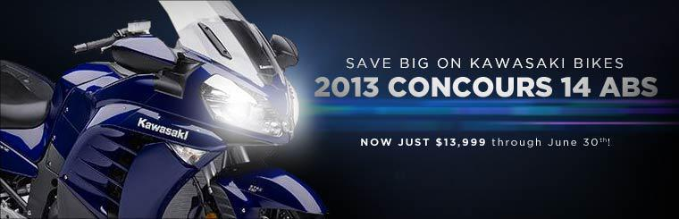 Save big on Kawasaki bikes! The 2013 Concours 14 ABS is just $13,999 through June 30!