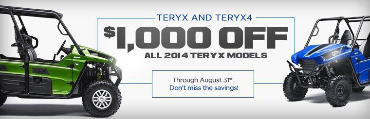 Get $1,000 off all 2014 Kawasaki Teryx models through August 31st!