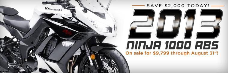 Save $2,000 today on the 2013 Kawasaki Ninja 1000 ABS!