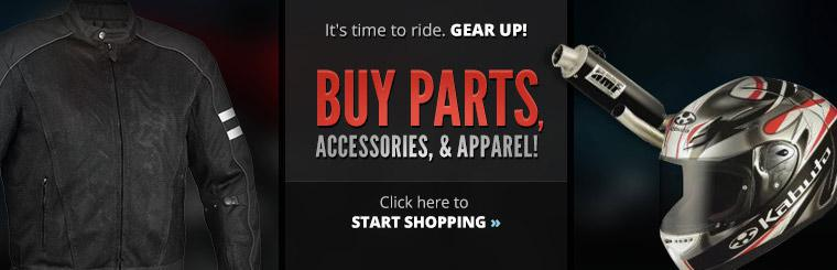 Buy parts, accessories, and apparel! Click here to start shopping.