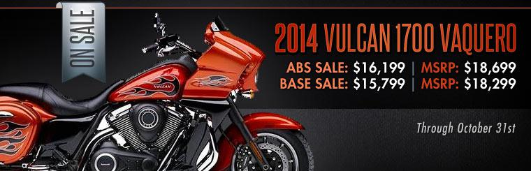 2014 Kawasaki Vulcan 1700 Vaquero Sale: Starting at $15,799 through October 31st!