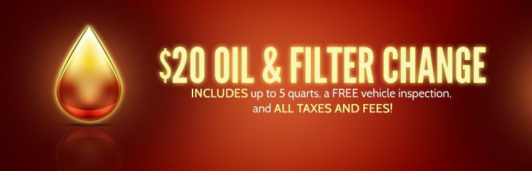 $20 Oil & Filter Change: This offer includes up to 5 quarts of oil, a FREE vehicle inspection, and all taxes and fees! Click here to print the coupon.