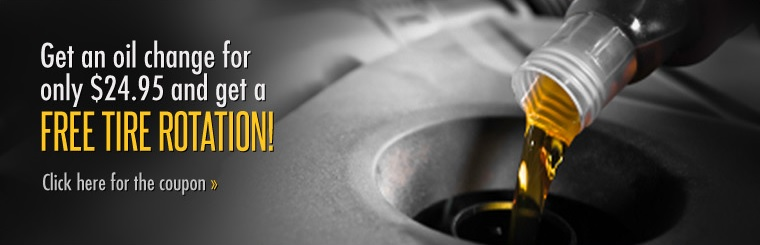 Get an oil change for only $24.95 and get a free tire rotation! Click here for the coupon.