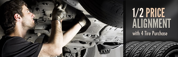 Get a 1/2 price alignment with a 4 tire purchase! Click here for your coupon.