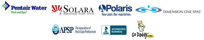We carry products from Pentair, Solara, Polaris, and Dimension One. APSP. BBB. GoDaddy.