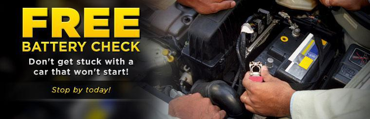Don't get stuck with a car that won't start! Stop in for a free battery check today!