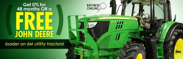 Get 0% for 48 months or a FREE John Deere loader on 6M utility tractors! Click here to browse online.