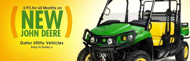 Get 3.9% for 60 months on new John Deere Gator utility vehicles. Click here to view the models.
