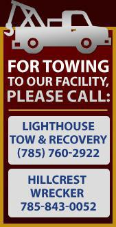Lighthouse Tow & Recovery at 785-760-2922 or Hillcrest Wrecker at 785-843-0052.