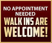 No appointment needed. Walk ins are welcome!