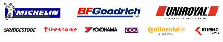 We carry products by Michelin®, BFGoodrich®, Uniroyal®, Bridgestone, Firestone, Yokohama, Nexen, Continental, and Kumho.