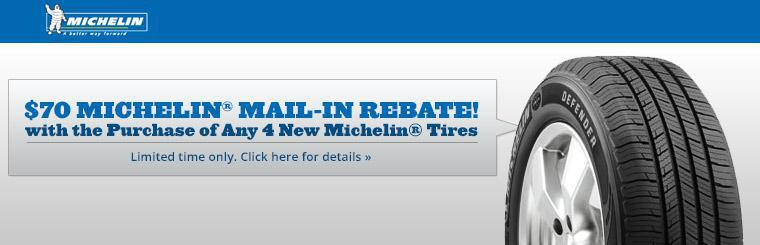 Get a $70 Michelin® mail-in rebate with the purchase of any 4 new Michelin® tires! Click here for details.