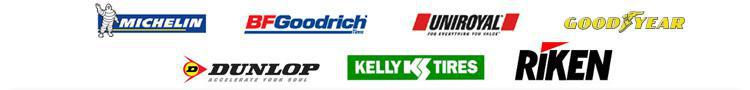 We proudly carry tires from Michelin, BFGoodrich, Uniroyal, Goodyear, Dunlop, Kelly, and Riken