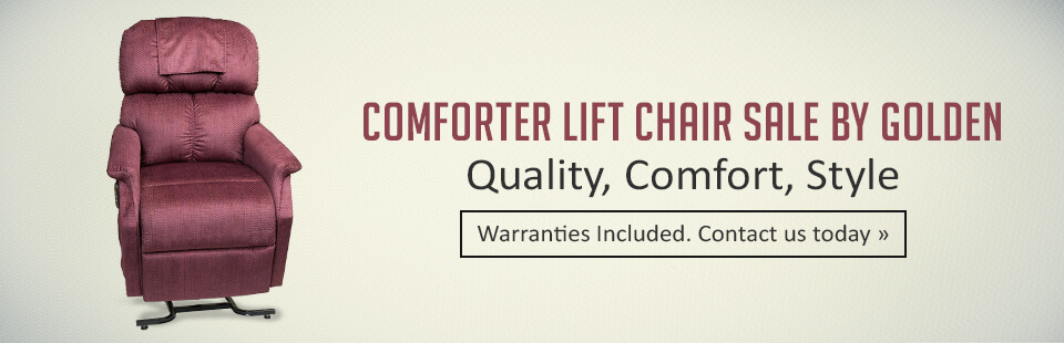 Comforter Lift Chair Sale by Golden: Get quality, comfort, and style with warranties included! Click here for details.