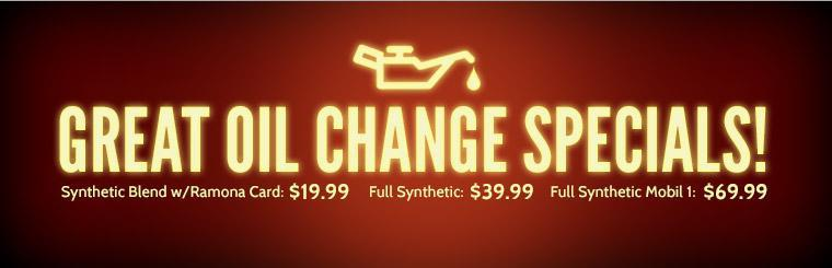 Click here to check out our great oil change specials!