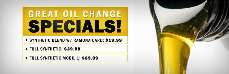 Great Oil Change Specials: Click here to print the coupon.