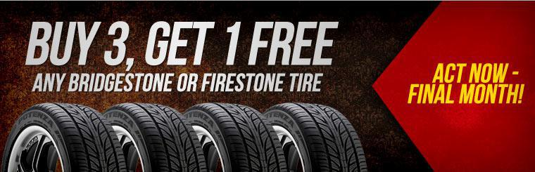 Buy three and get one free on any Bridgestone or Firestone Tires. Click here for a coupon.