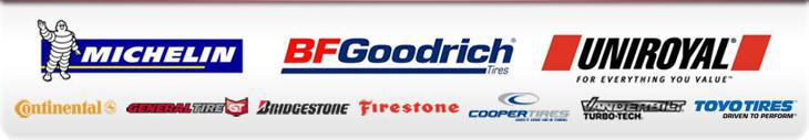 We proudly offer products from: Michelin®, BFGoodrich®, Uniroyal®, Continental, General, Bridgestone, Firestone, Cooper Tires, Vanderbilt, and Toyo.