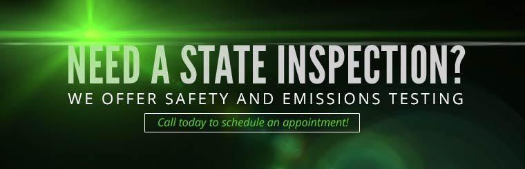 We offer safety and emissions testing! Call today to schedule an appointment.