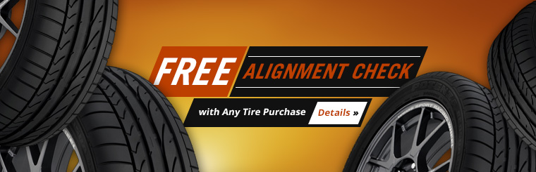 Get a free alignment check with any tire purchase! Click here to print your coupon.