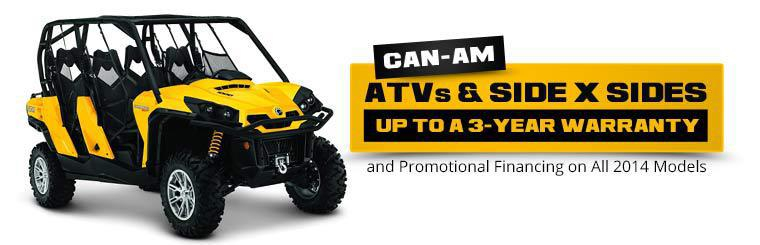 Can-Am ATVs & Side x Sides: Get up to a 3-year warranty and promotional financing on all 2014 models!