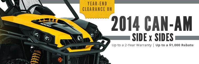 Year-End Clearance on 2014 Can-Am Side x Sides: Get up to two-year warranty and up to $1,000 rebate!