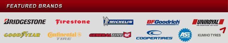 We proudly carry products from Bridgestone, Firestone, Michelin®, BFGoodrich®, Uniroyal®, Goodyear, Continental, General Tire, Cooper Tire, and Kumho. ASE.