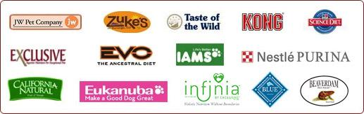 We Carry: JW Pet Company, Zuke's, Taste of the Wild, Kong, Science Diet, Exclusive, Evo, Iams, Nestle Purina, California Natural, Eukanuba, Infinia, Blue Buffalo, and Beaver Dam.