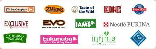 We Carry: JW Pet Company, Zuke's, Taste of the Wild, Kong, Science Diet, Exclusive, Evo, Iams, Nestle Purina, California Natural, Eukanuba, Infinia, and Blue Buffalo
