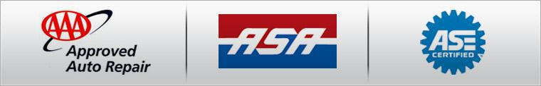 We are proud to be affiliated with AAA and the ASA. Our technicians are ASE certified.