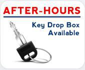 After-hours key drop box available.