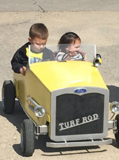 Future race car drivers Isaiah and Joy Watkins. Jeff & Lynne's grandkids