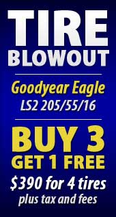 TIRE BLOWOUT Goodyear Eagle LS2 205/55/16 Buy 3 get 1 free $390 for 4 tires plus tax and fees