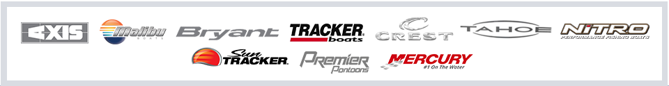 We carry products from Axis, Malibu, Bryant, Tracker, Crest, Tahoe, Nitro, Sun Tracker, Premier Pontoons, and Mercury.