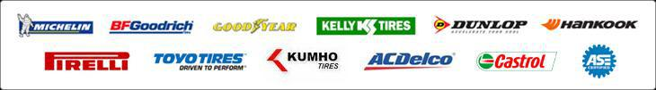 We proudly carry products from Michelin®, BFGoodrich®, Goodyear, Kelly, Dunlop, Hankook, Pirelli, Toyo, Kumho, ACDelco, and Castrol. Our technicians are ASE certified.