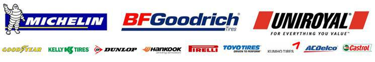 We carry products from Michelin®, BFGoodrich®, Uniroyal®, Goodyear, Kelly, Dunlop, Hankook, Pirelli, Toyo, Kumho, ACDelco, and Castrol.