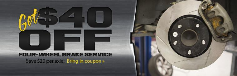 $40 Off Four Wheel Brake Service