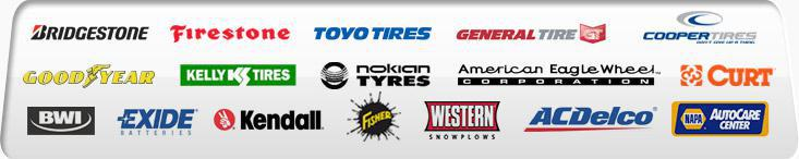 We offer products from Bridgestone, Firestone, Toyo Tires, General Tire, Cooper Tires, Goodyear, Kelly Tires, Nokian Tyres, American Eagle Wheel, Curt, BWI, Exide Batteries, Kendall, Fisher, Western Snowplows, and ACDelco. We are affiliated with the NAPA AutoCare Center.