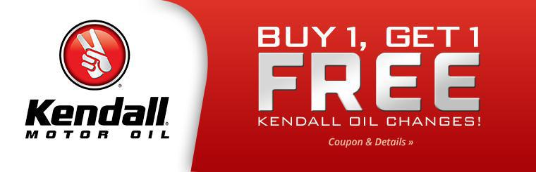 Buy 1 Kendall oil change, get 1 free! Click here to print the coupon.