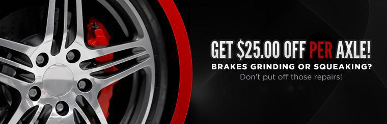 Get twenty-five dollars off per axle on brake service in Duluth, Minnesota!